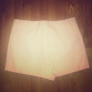 White faux leather skort
